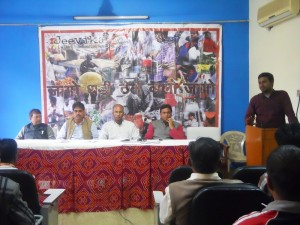 Jeevika Campaign Associate, Amit Kumar Gond Addressing the Press Conference